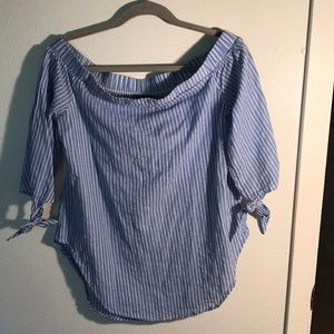 Mossimo Supply Co. Tops - Off shoulder blue and white top size medium